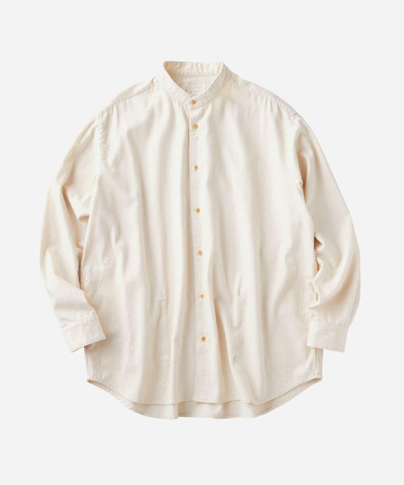 KURO バンドカラーシャツ ビッグシルエット オフホワイト アイボリー 長袖