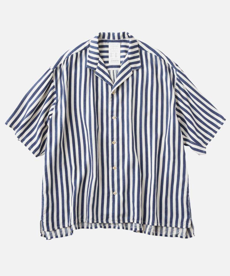 KURO クロ インディゴストライプ 半袖シャツ